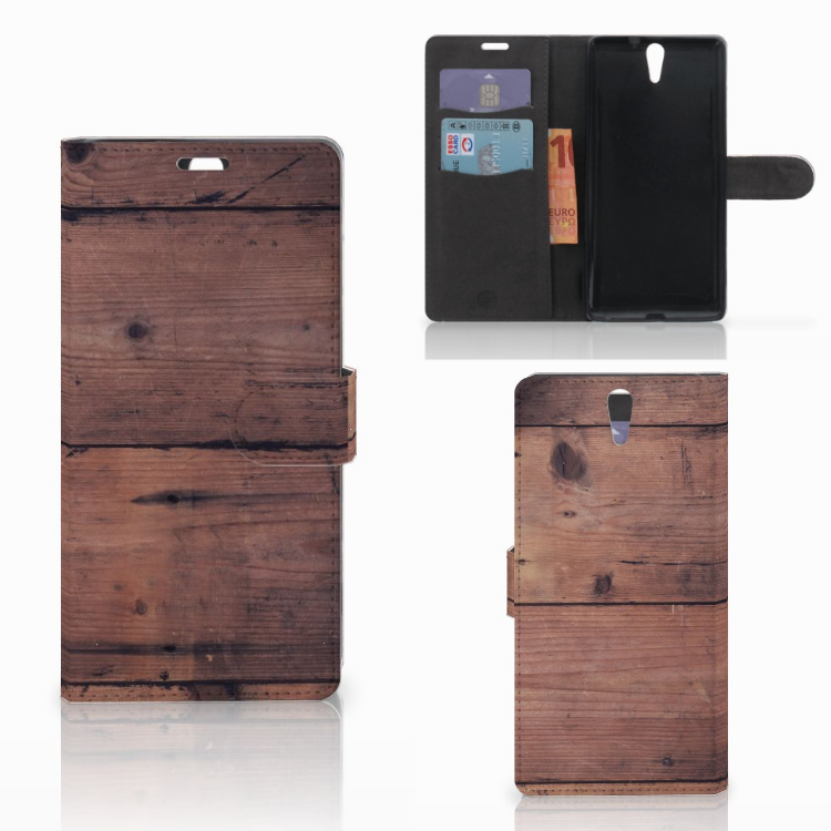 Sony Xperia C5 Ultra Book Style Case Old Wood