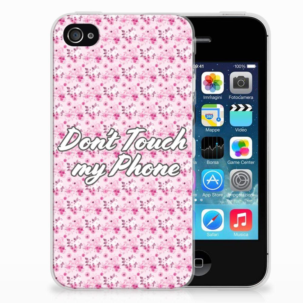 Apple iPhone 4 | 4s Uniek TPU Hoesje Flowers Pink DTMP