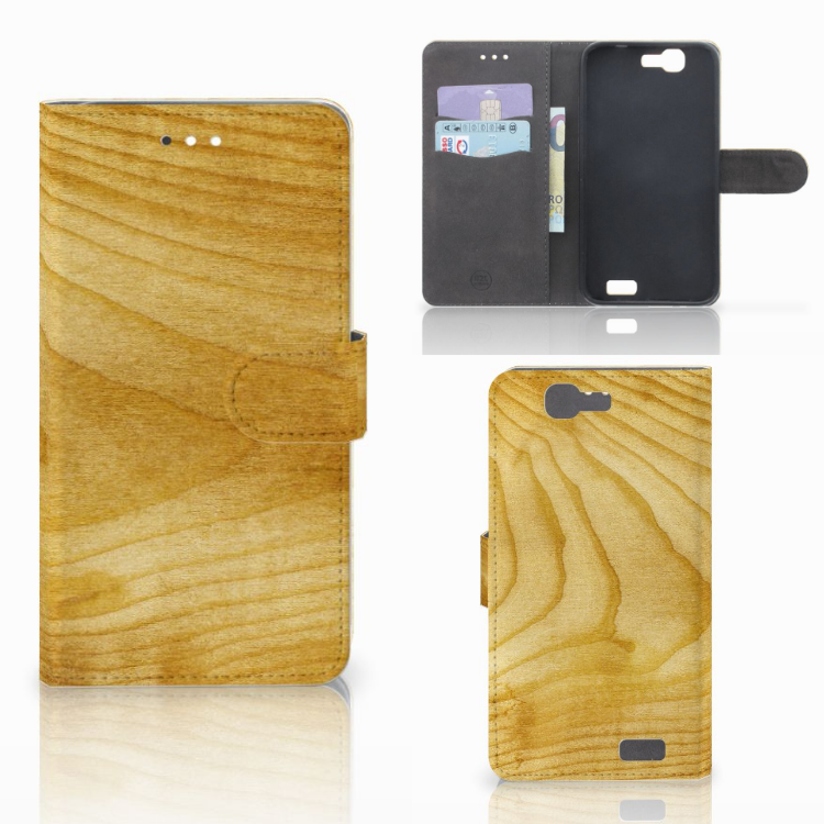 Huawei Ascend G7 Book Style Case Licht Hout