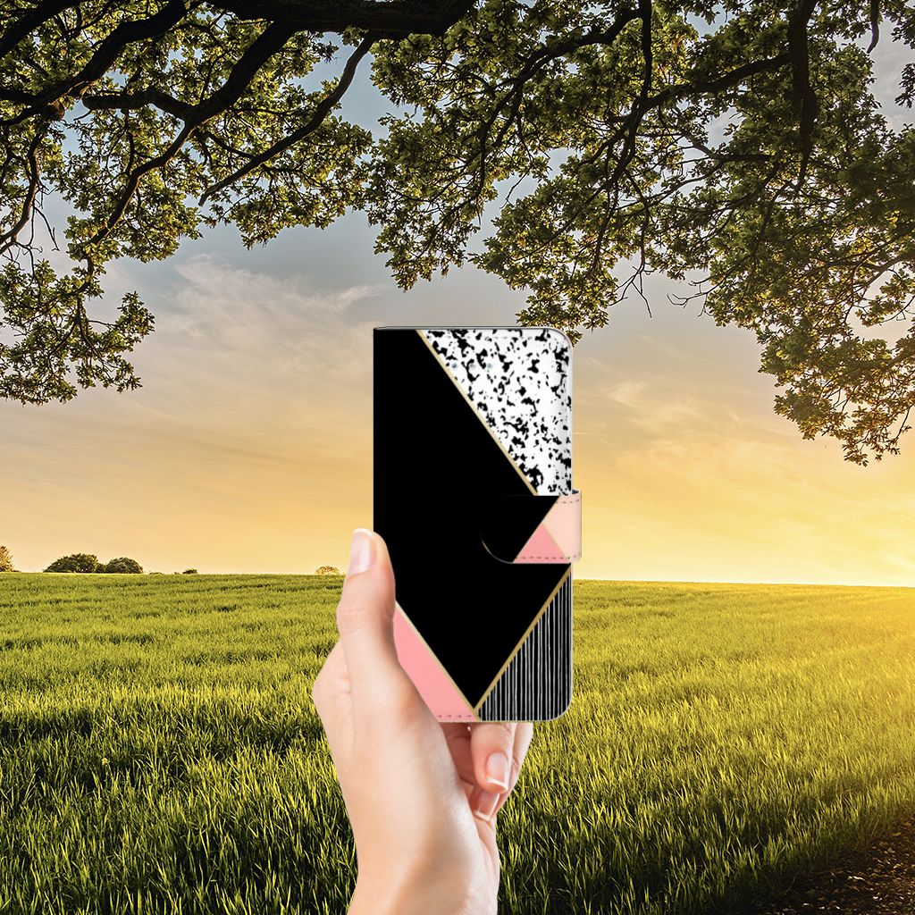 Honor 4A | Y6 Uniek Boekhoesje Black Pink Shapes