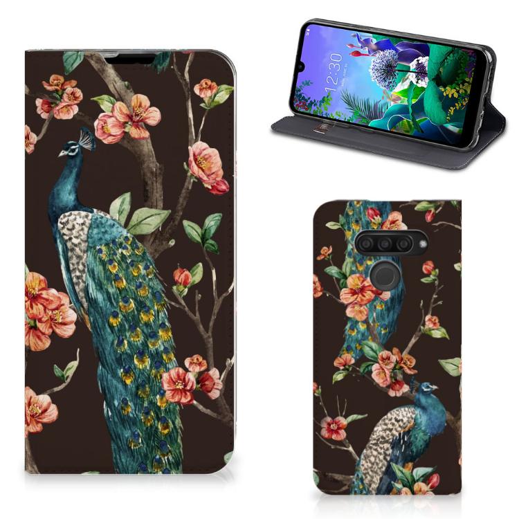 LG Q60 Hoesje maken Pauw met Bloemen