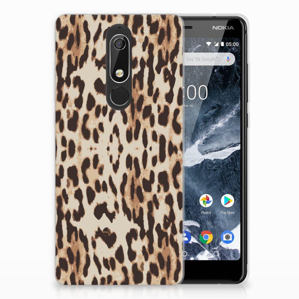 Nokia 5.1 (2018) Uniek TPU Hoesje Leopard