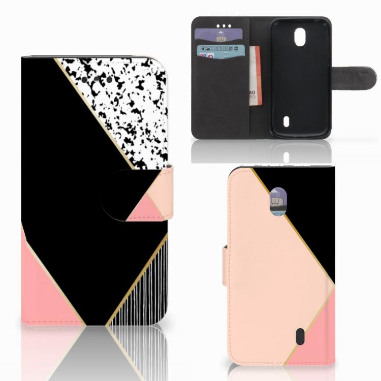 Nokia 1 Bookcase Zwart Roze Vormen