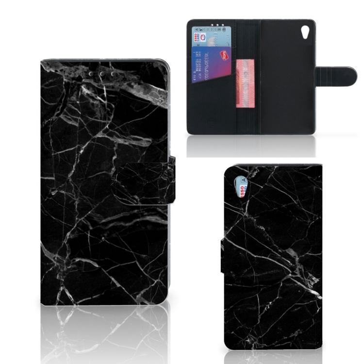 Sony Xperia Z3 Bookcase Marmer Zwart