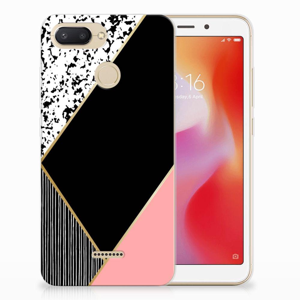 Xiaomi Redmi 6 TPU Hoesje Zwart Roze Vormen