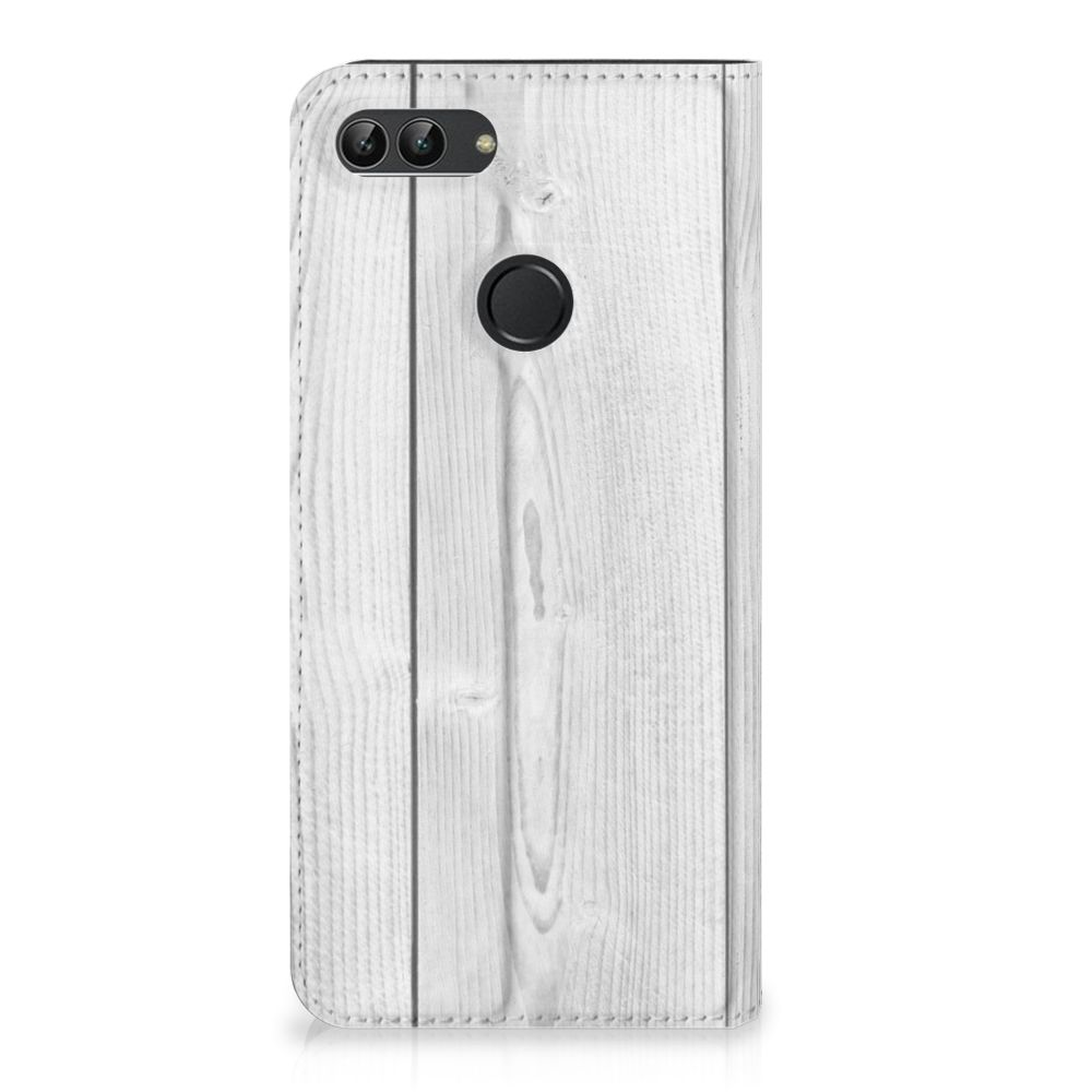 Huawei P Smart Book Wallet Case White Wood