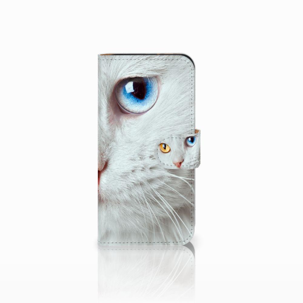 HTC One Mini 2 Uniek Boekhoesje Witte Kat