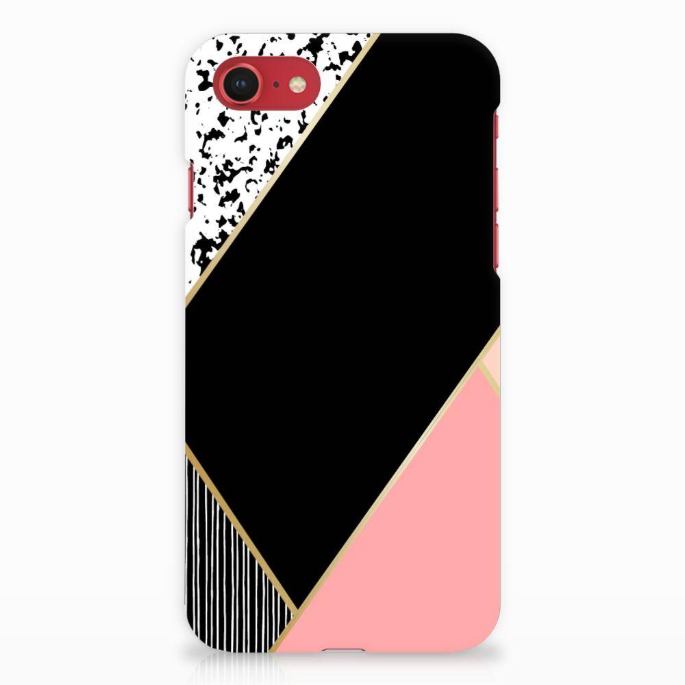 Apple iPhone 7   8 Uniek Hardcase Hoesje Black Pink Shapes