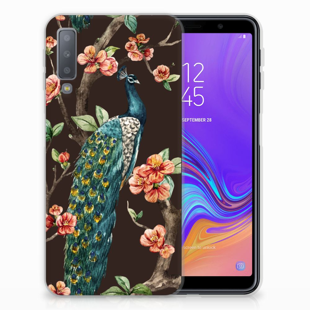Samsung Galaxy A7 (2018) TPU Hoesje Pauw met Bloemen