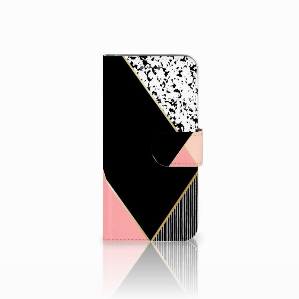 Wiko Wim Lite Uniek Boekhoesje Black Pink Shapes