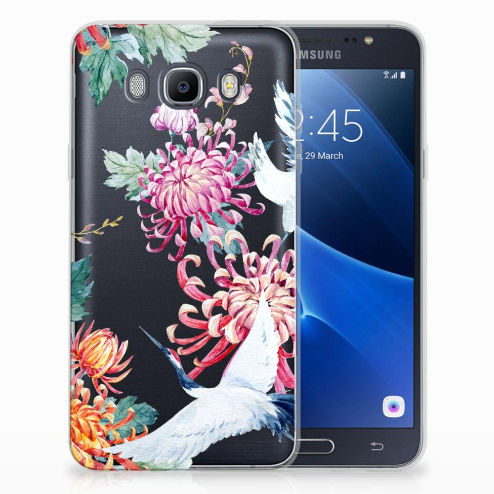 Samsung Galaxy J7 2016 Uniek TPU Hoesje Bird Flowers