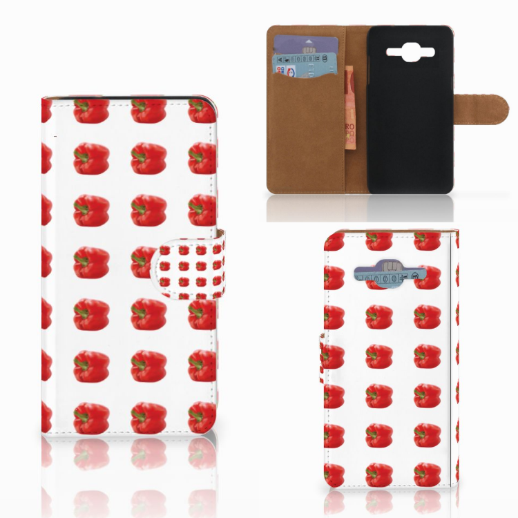 Samsung Galaxy J2 2016 Book Cover Paprika Red