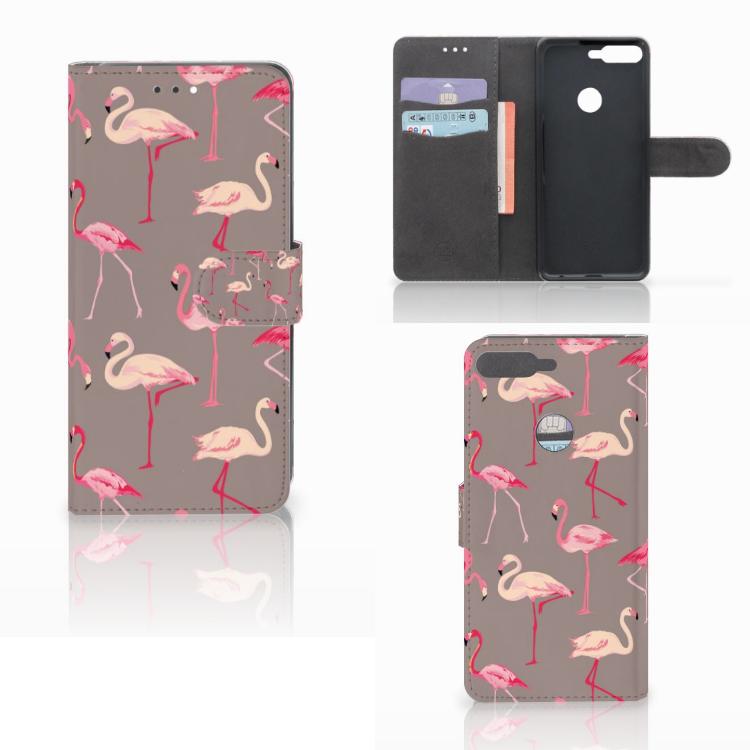 Huawei Y7 2018 Telefoonhoesje met Pasjes Flamingo