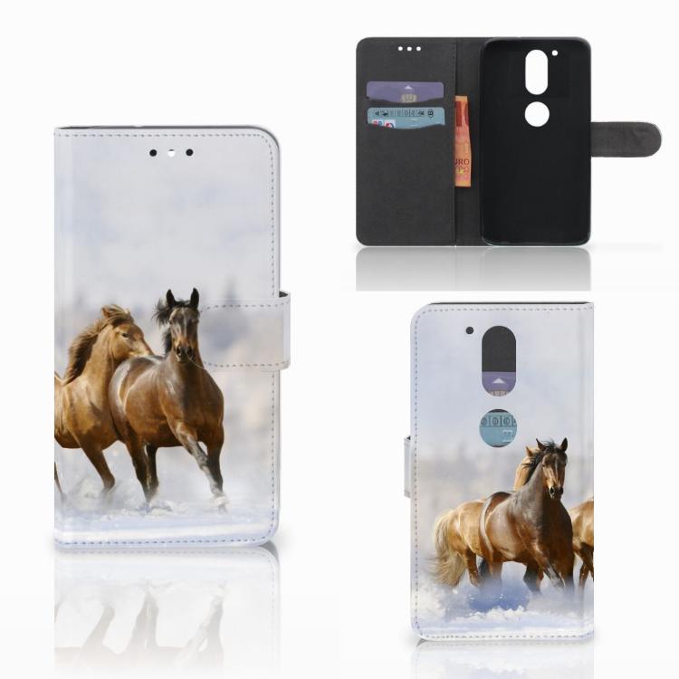 Motorola Moto G4 | G4 Plus Telefoonhoesje met Pasjes Paarden