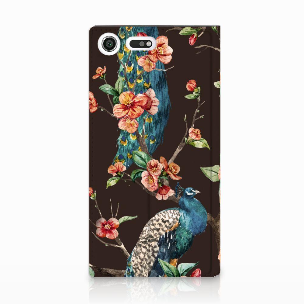 Sony Xperia XZ Premium Standcase Hoesje Design Pauw met Bloemen
