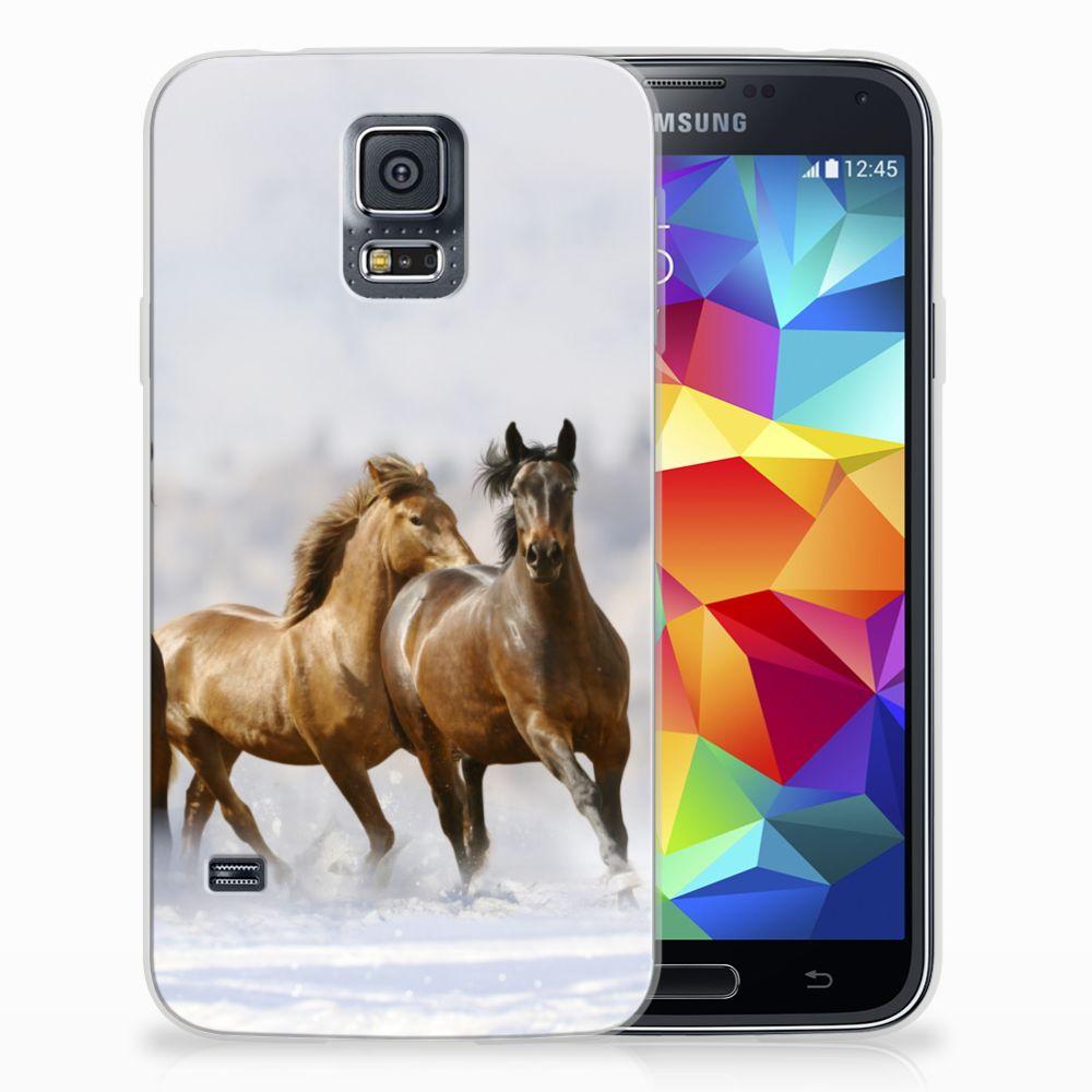 Samsung Galaxy S5 Uniek TPU Hoesje Paarden