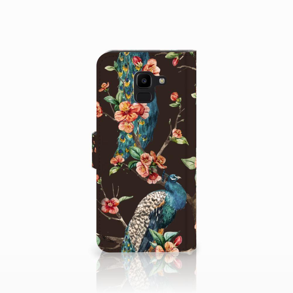 Samsung Galaxy J6 2018 Telefoonhoesje met Pasjes Pauw met Bloemen