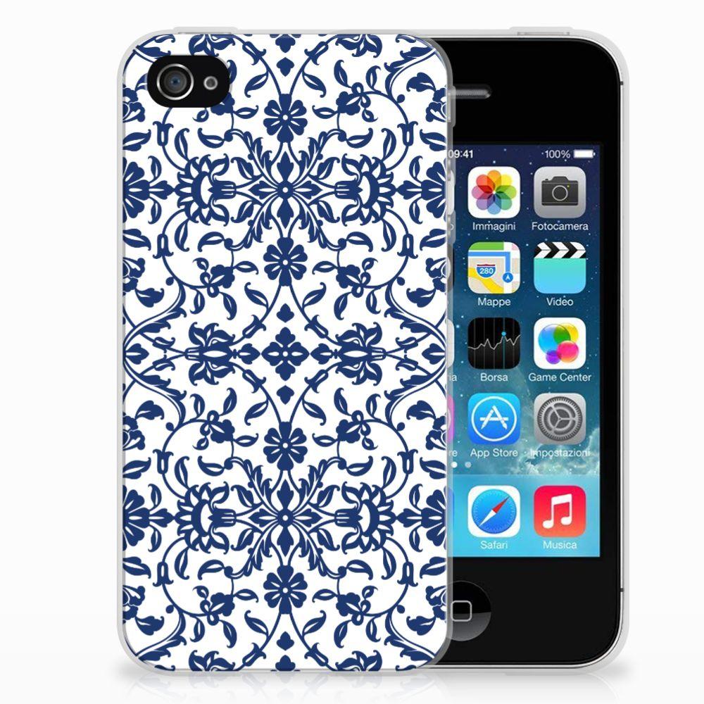Apple iPhone 4 | 4s Uniek TPU Hoesje Flower Blue