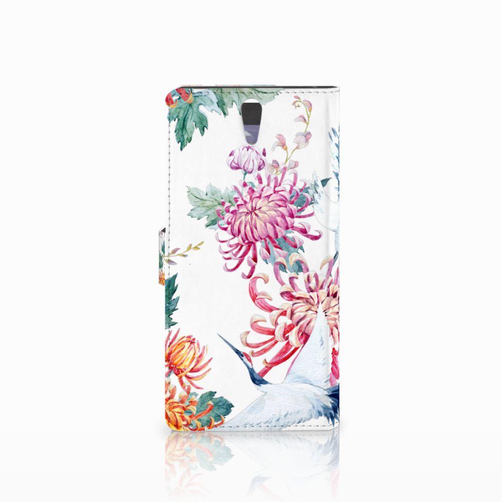 Sony Xperia C5 Ultra Telefoonhoesje met Pasjes Bird Flowers
