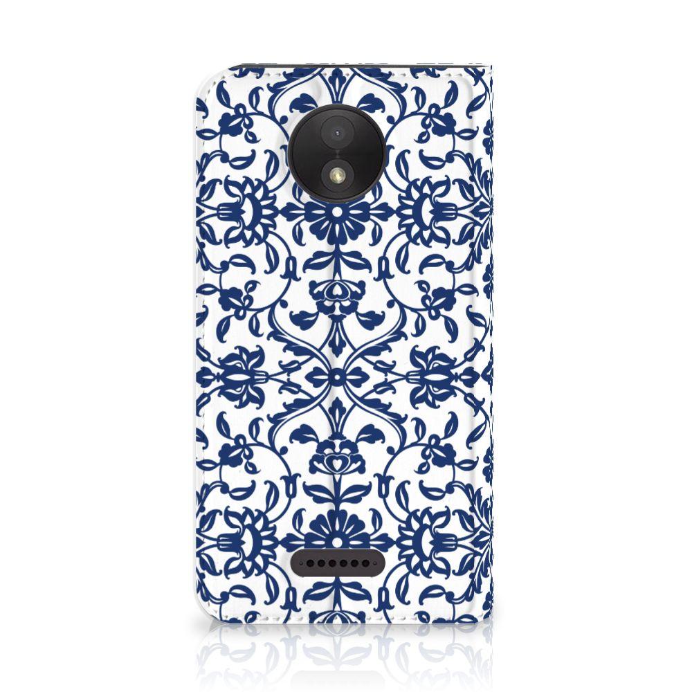 Motorola Moto C Plus Standcase Hoesje Flower Blue