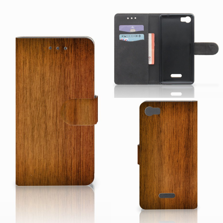 Wiko Fever (4G) Book Style Case Donker Hout