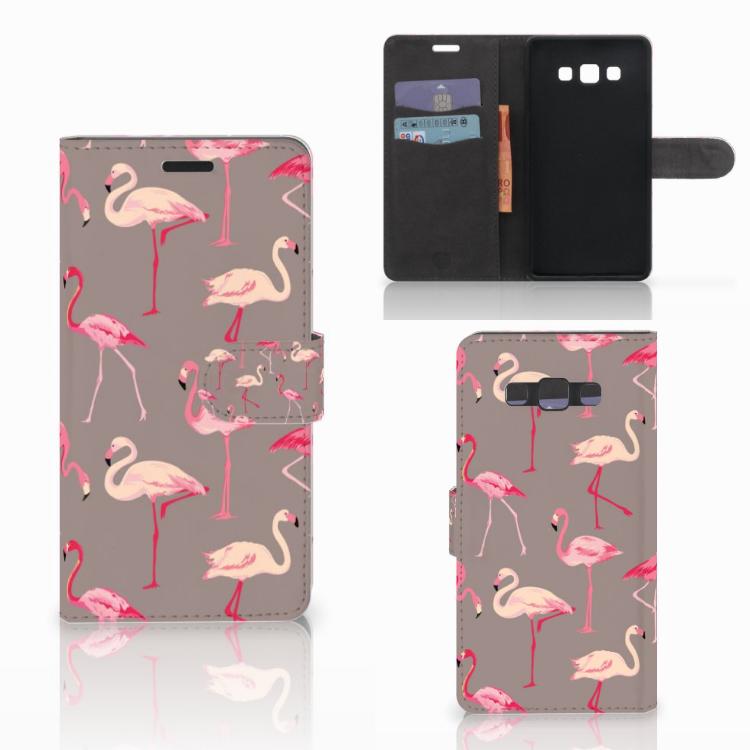 Samsung Galaxy A7 2015 Telefoonhoesje met Pasjes Flamingo