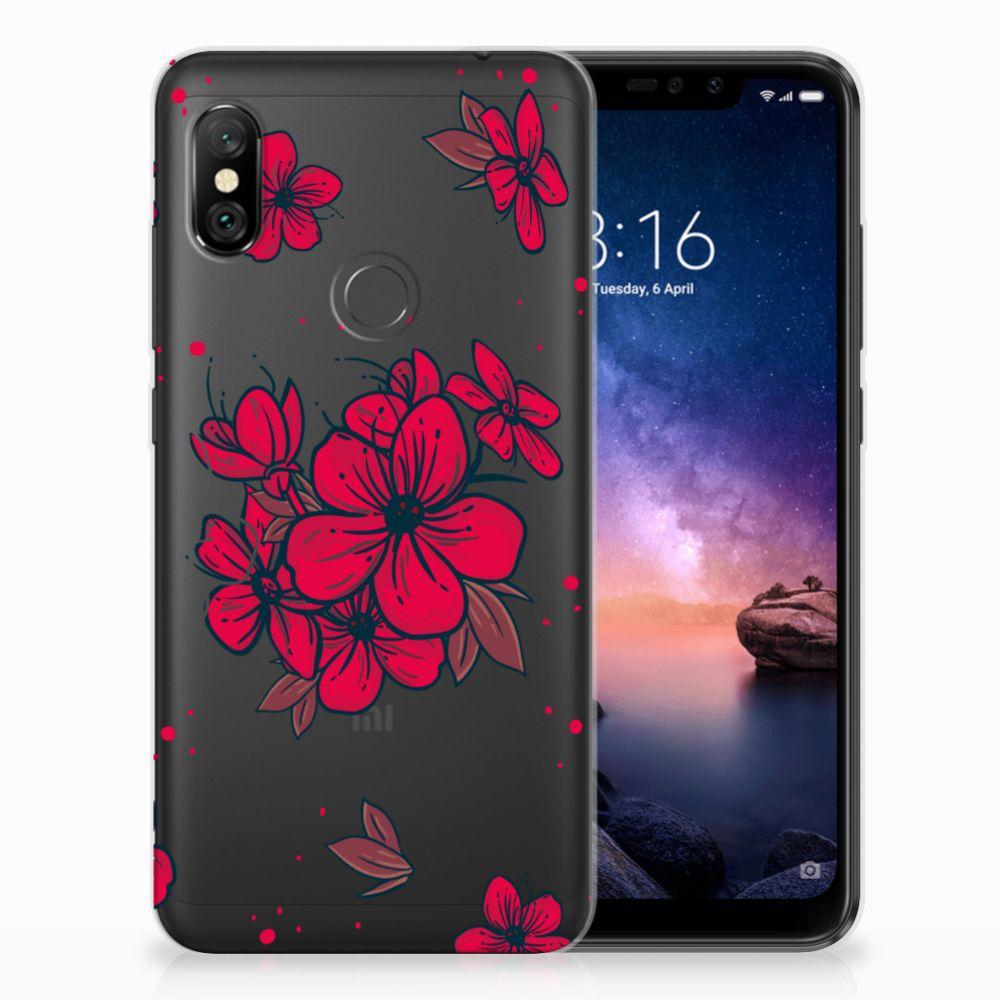 Xiaomi Redmi Note 6 Pro TPU Hoesje Design Blossom Red