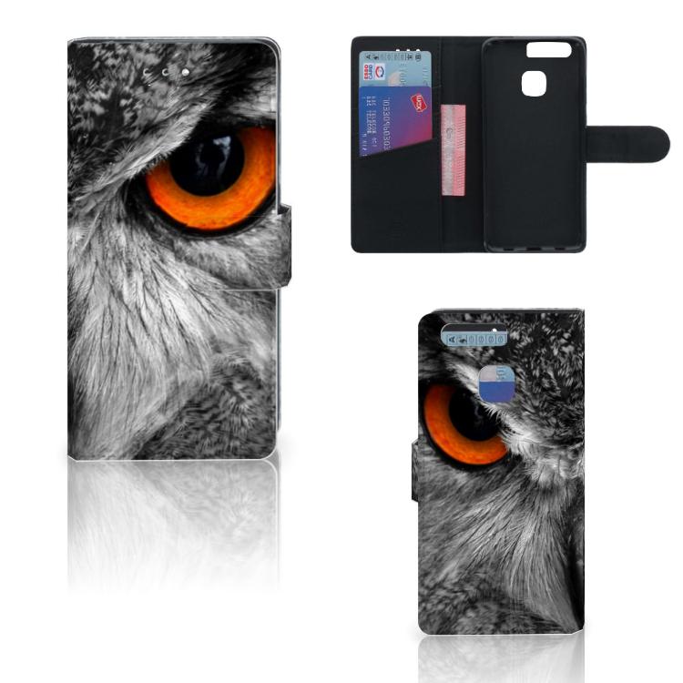 Huawei P9 Telefoonhoesje met Pasjes Uil