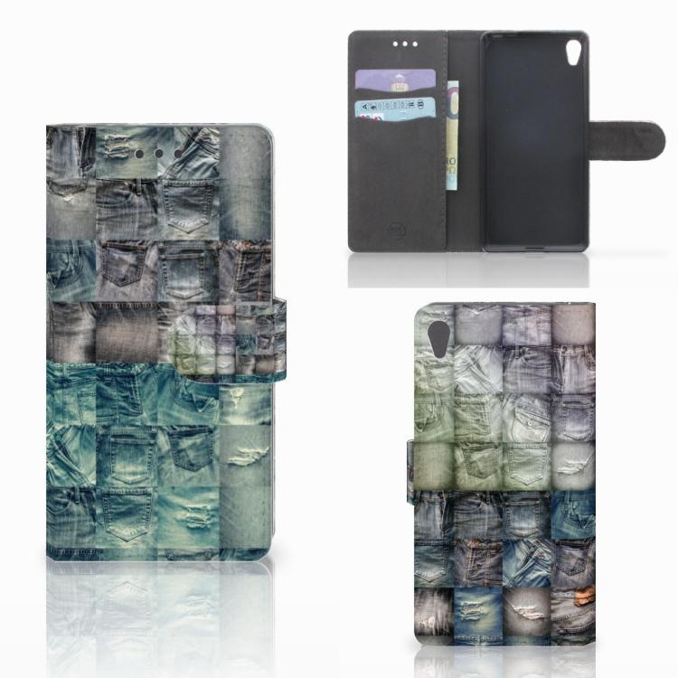 Wallet Case met Pasjes Sony Xperia E5 Spijkerbroeken