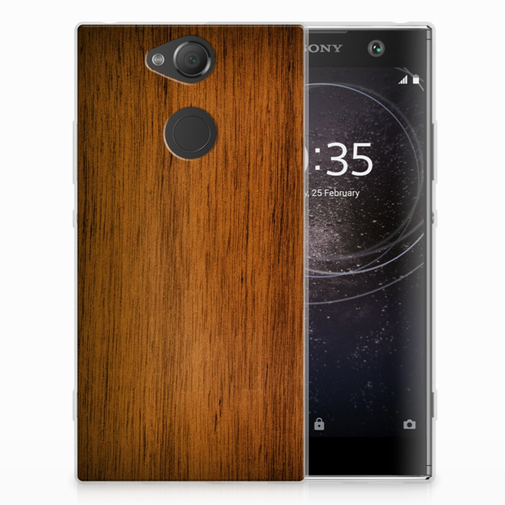 Sony Xperia XA2 Uniek TPU Hoesje Donker Hout