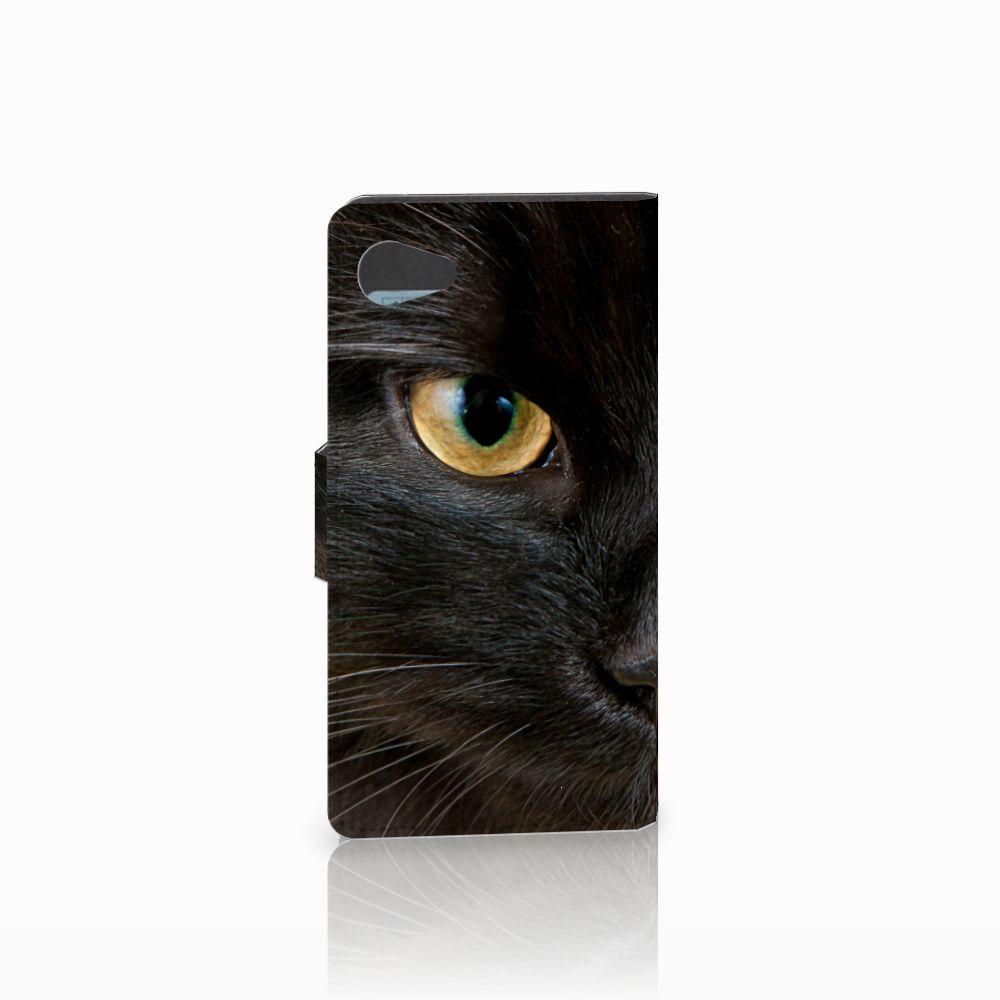 Sony Xperia Z5 Compact Telefoonhoesje met Pasjes Zwarte Kat