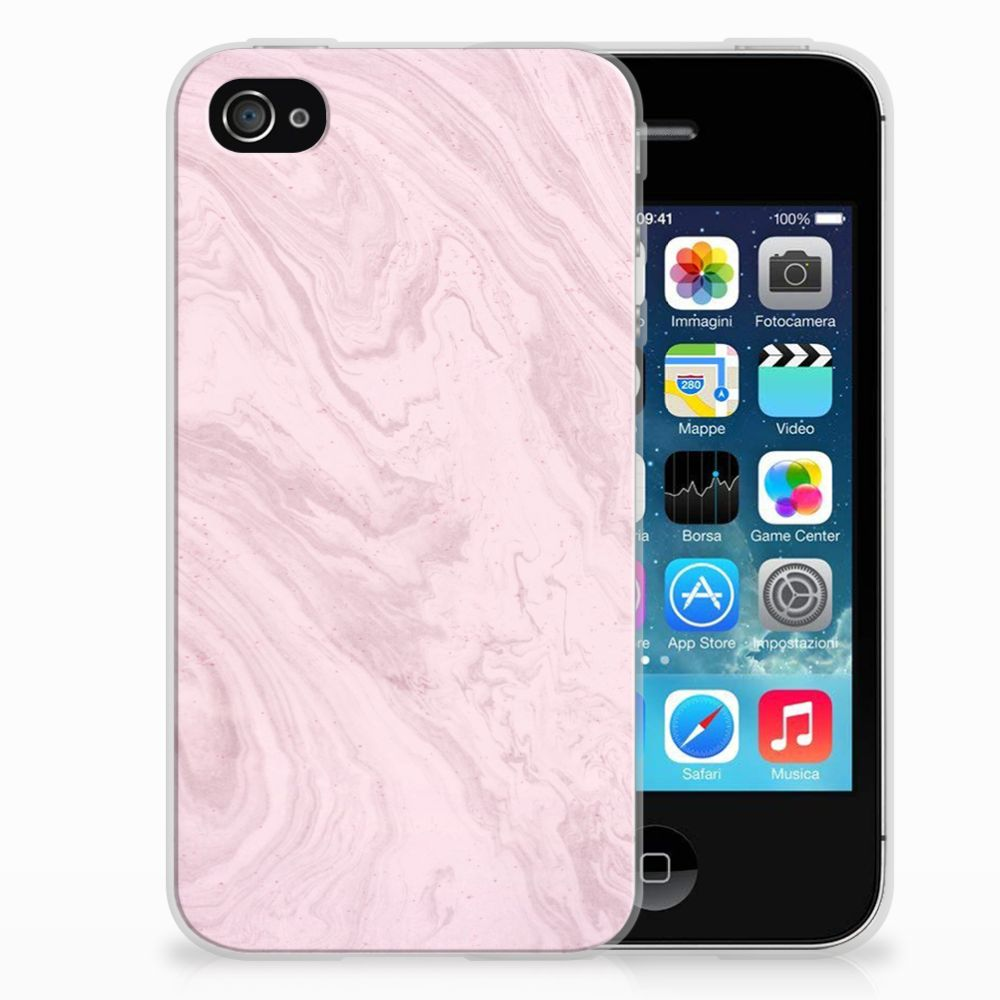 Apple iPhone 4   4s TPU Siliconen Hoesje Marble Pink
