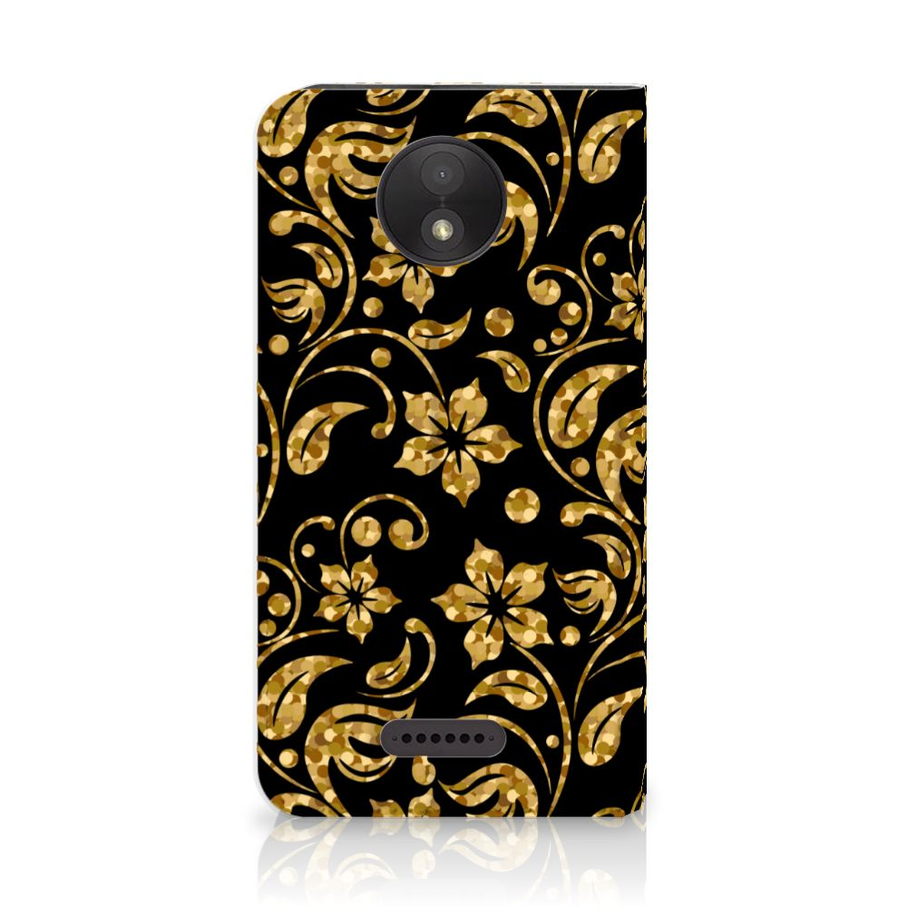 Motorola Moto C Plus Standcase Hoesje Design Gouden Bloemen