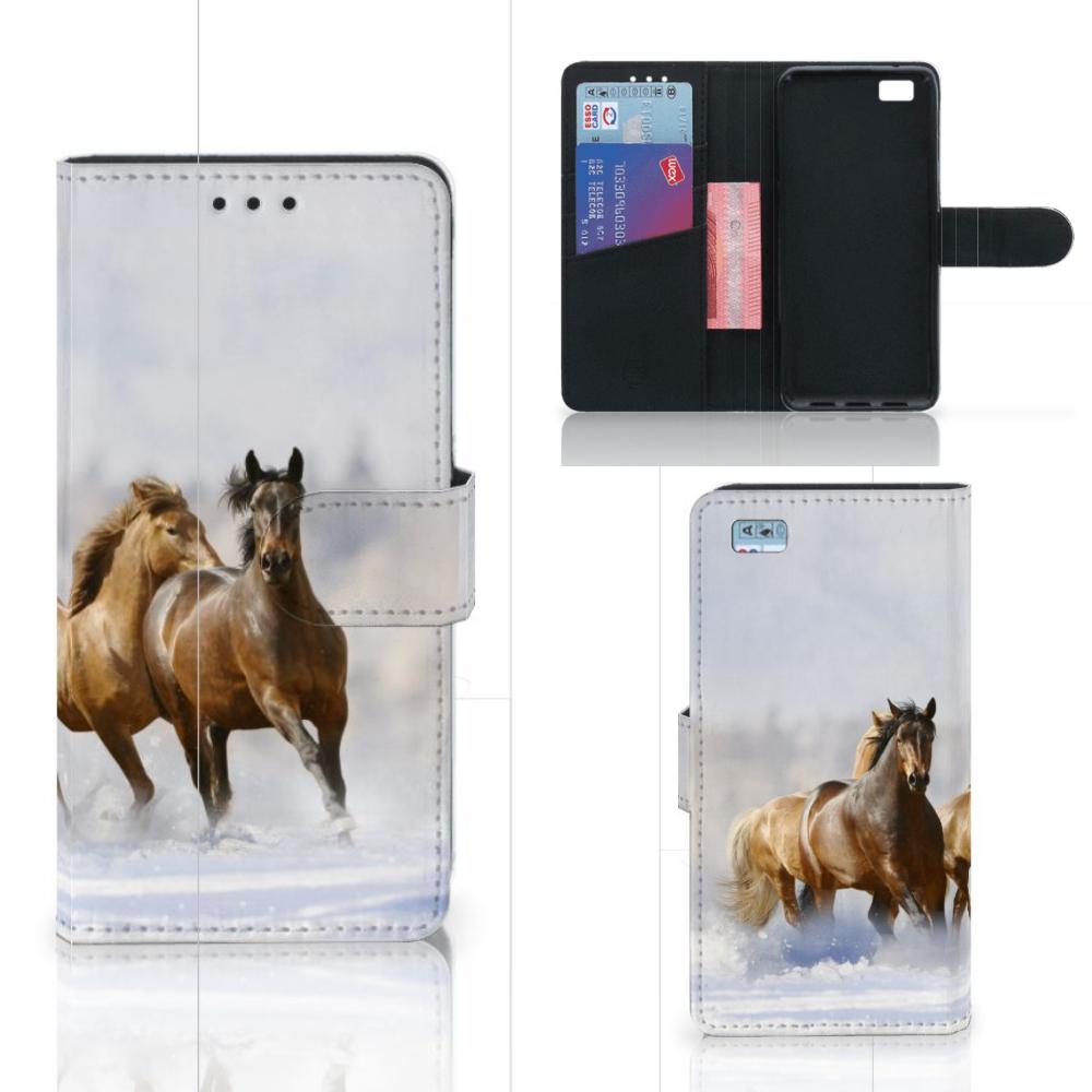 Huawei Ascend P8 Lite Telefoonhoesje met Pasjes Paarden