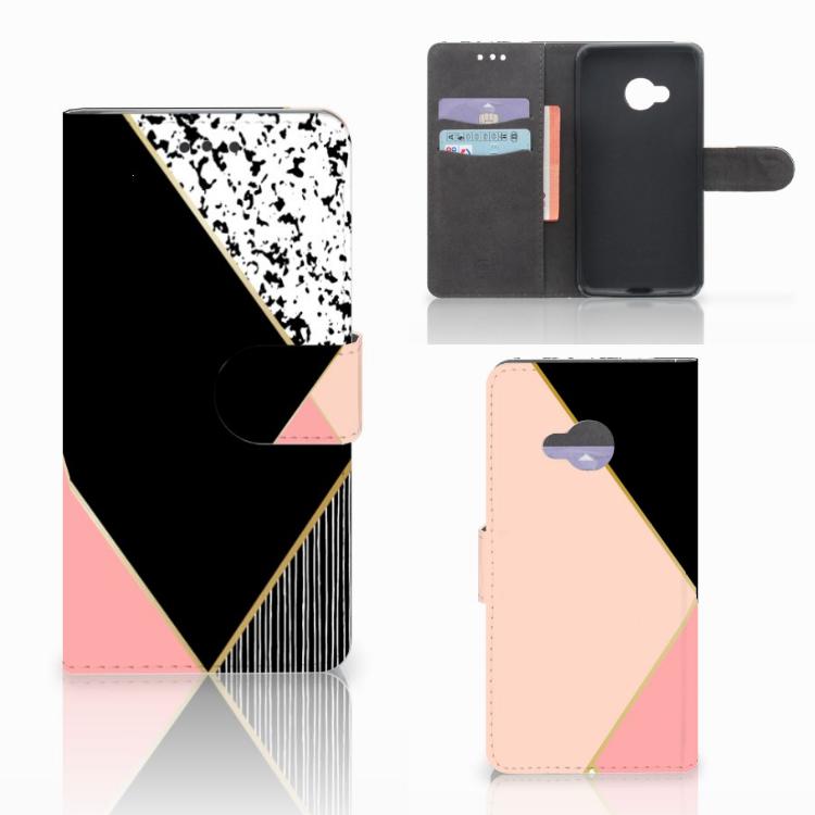 HTC U Play Bookcase Zwart Roze Vormen
