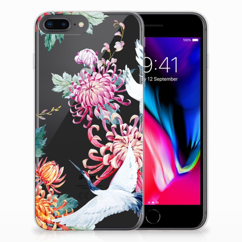 Apple iPhone 7 Plus | 8 Plus TPU Hoesje Bird Flowers