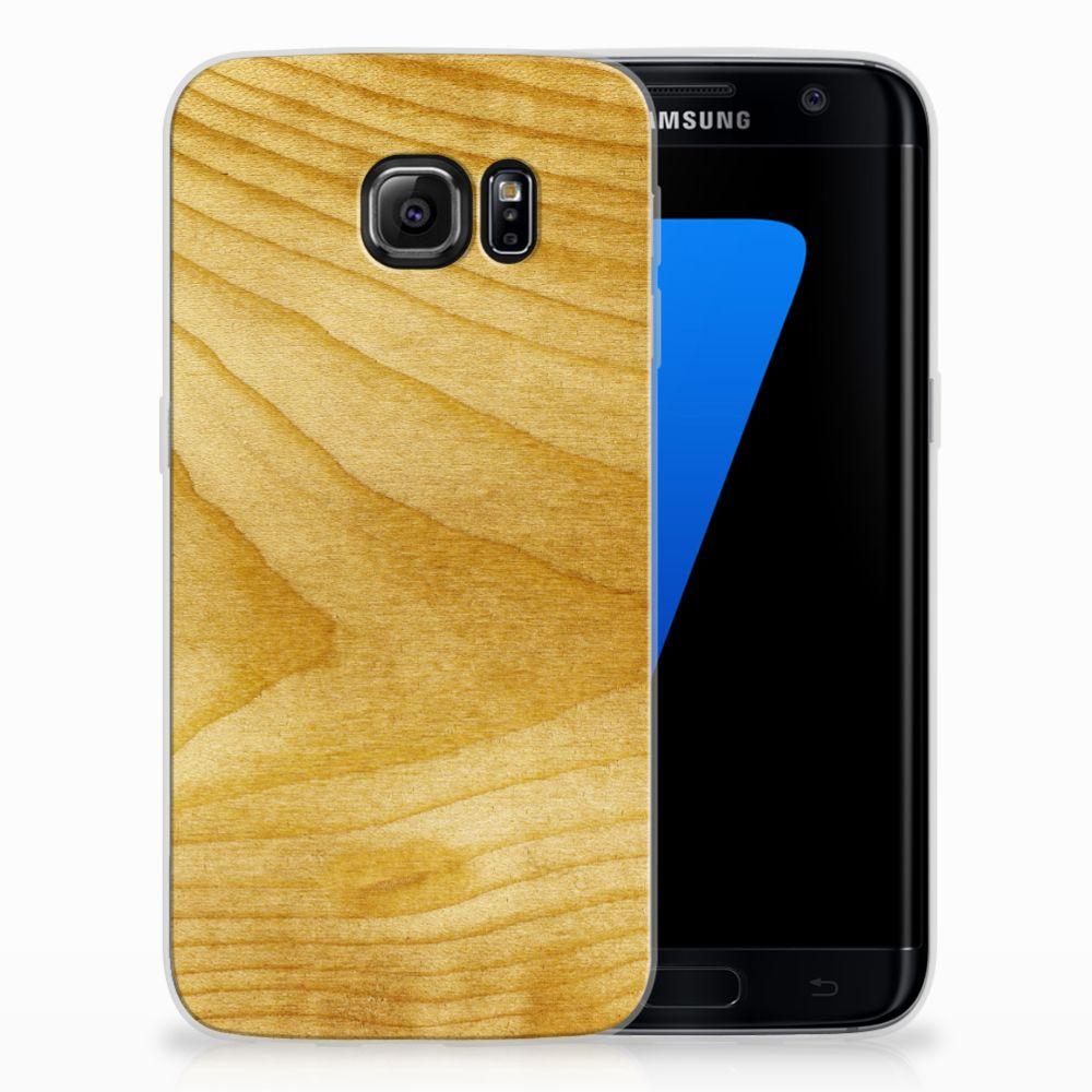 Samsung Galaxy S7 Edge Uniek TPU Hoesje Licht Hout