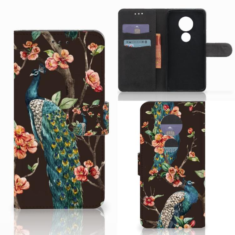 Motorola Moto E5 Play Telefoonhoesje met Pasjes Pauw met Bloemen