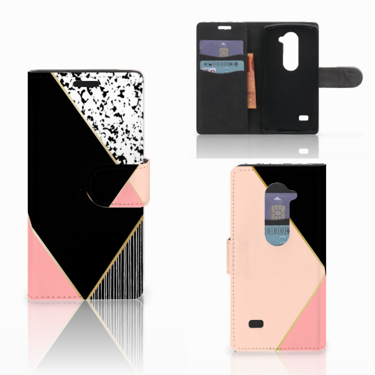 LG Leon 4G Bookcase Zwart Roze Vormen