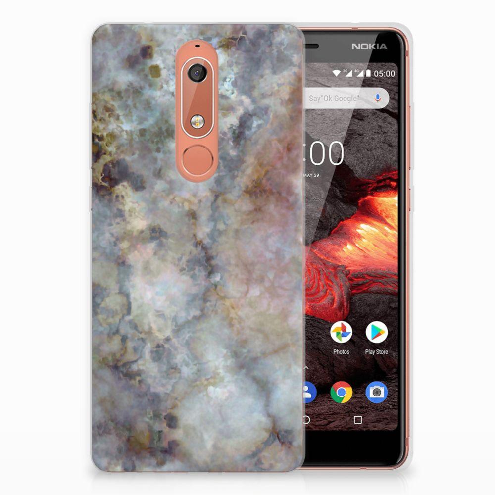 Nokia 5.1 (2018) TPU Siliconen Hoesje Marmer Grijs