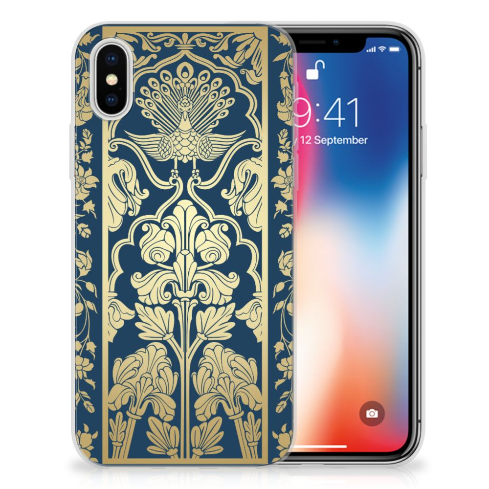 Apple iPhone X | Xs Uniek TPU Hoesje Golden Flowers