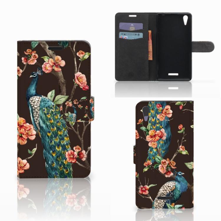 Sony Xperia T3 Telefoonhoesje met Pasjes Pauw met Bloemen