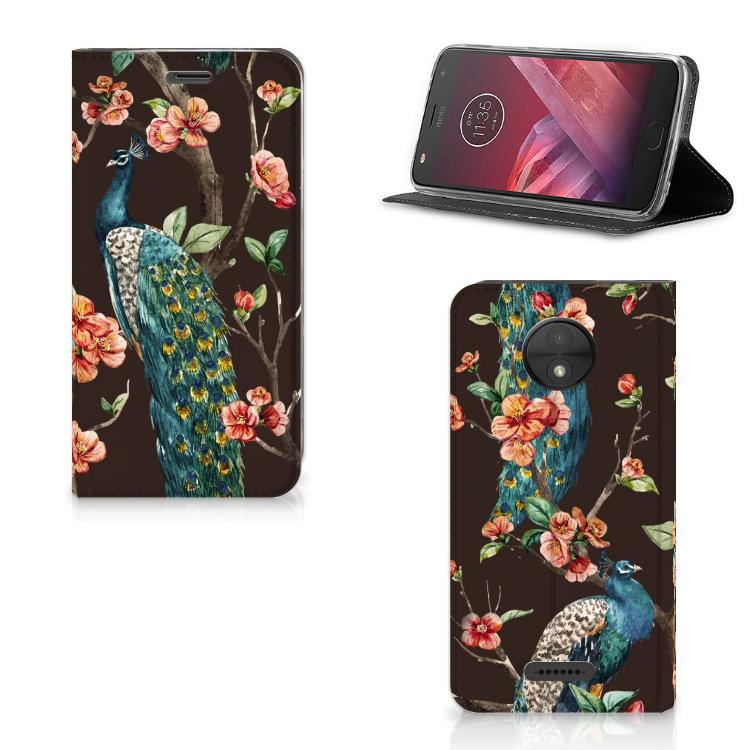 Motorola Moto C Hoesje maken Pauw met Bloemen