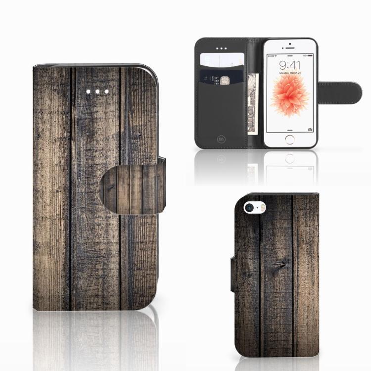 Apple iPhone 5   5s   SE Book Style Case Steigerhout