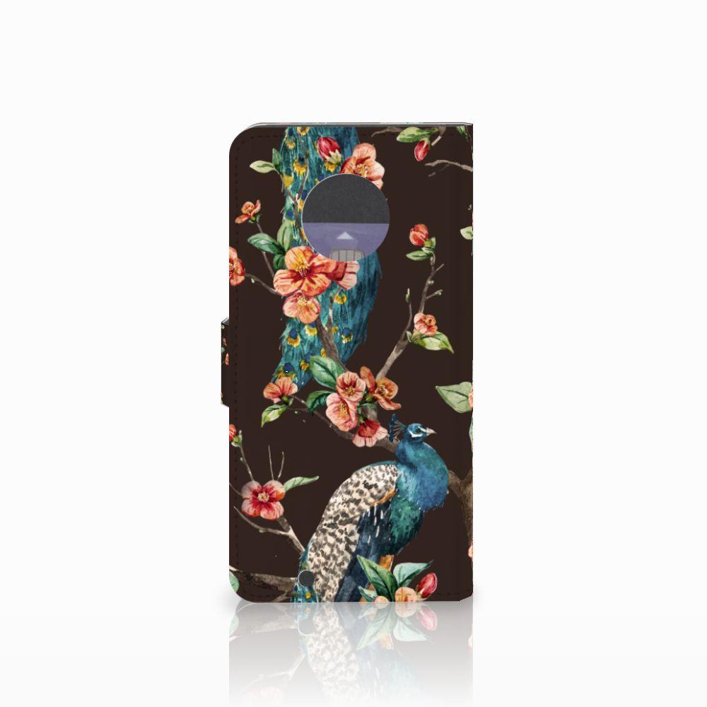 Motorola Moto G6 Telefoonhoesje met Pasjes Pauw met Bloemen
