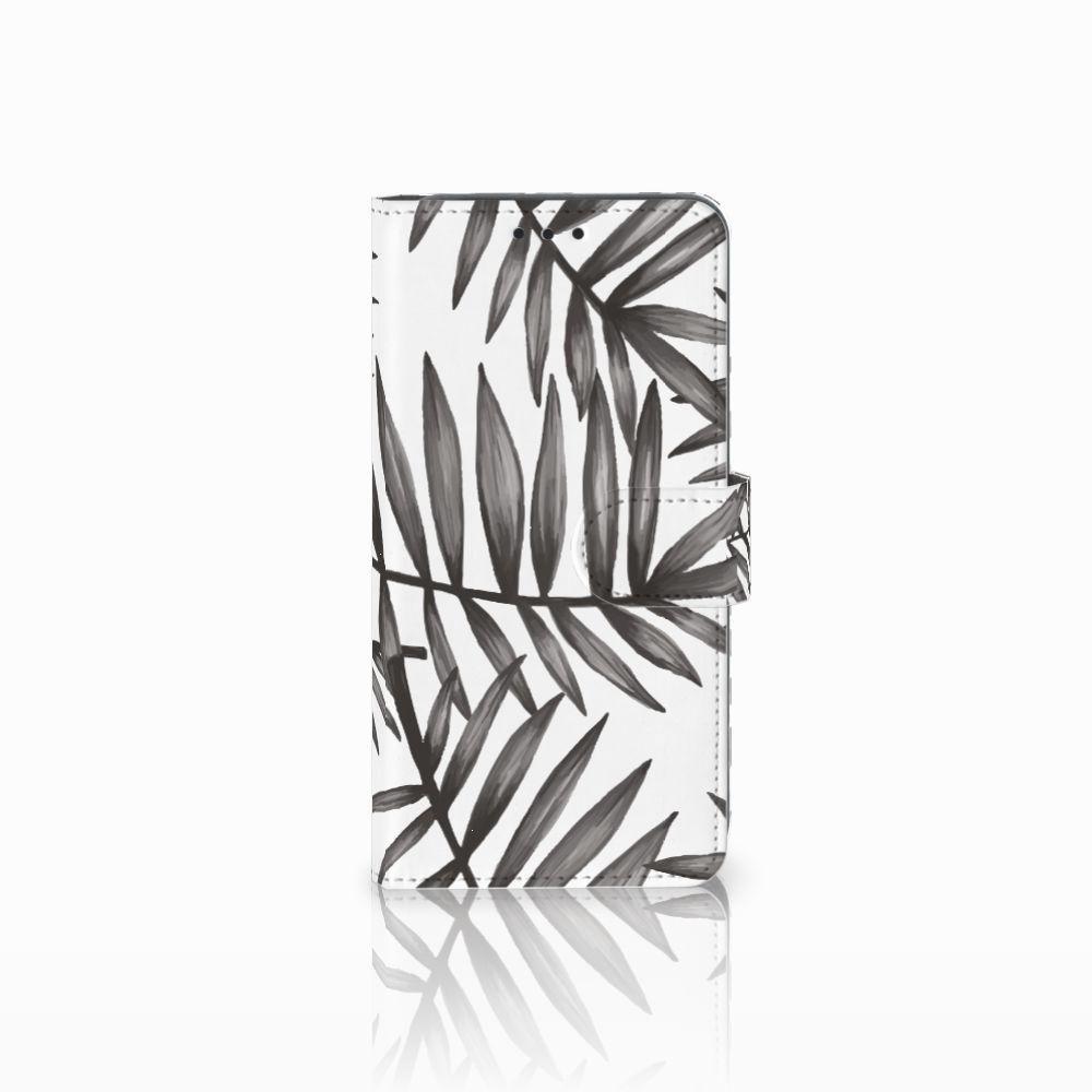 Samsung Galaxy A8 2018 Uniek Boekhoesje Leaves Grey