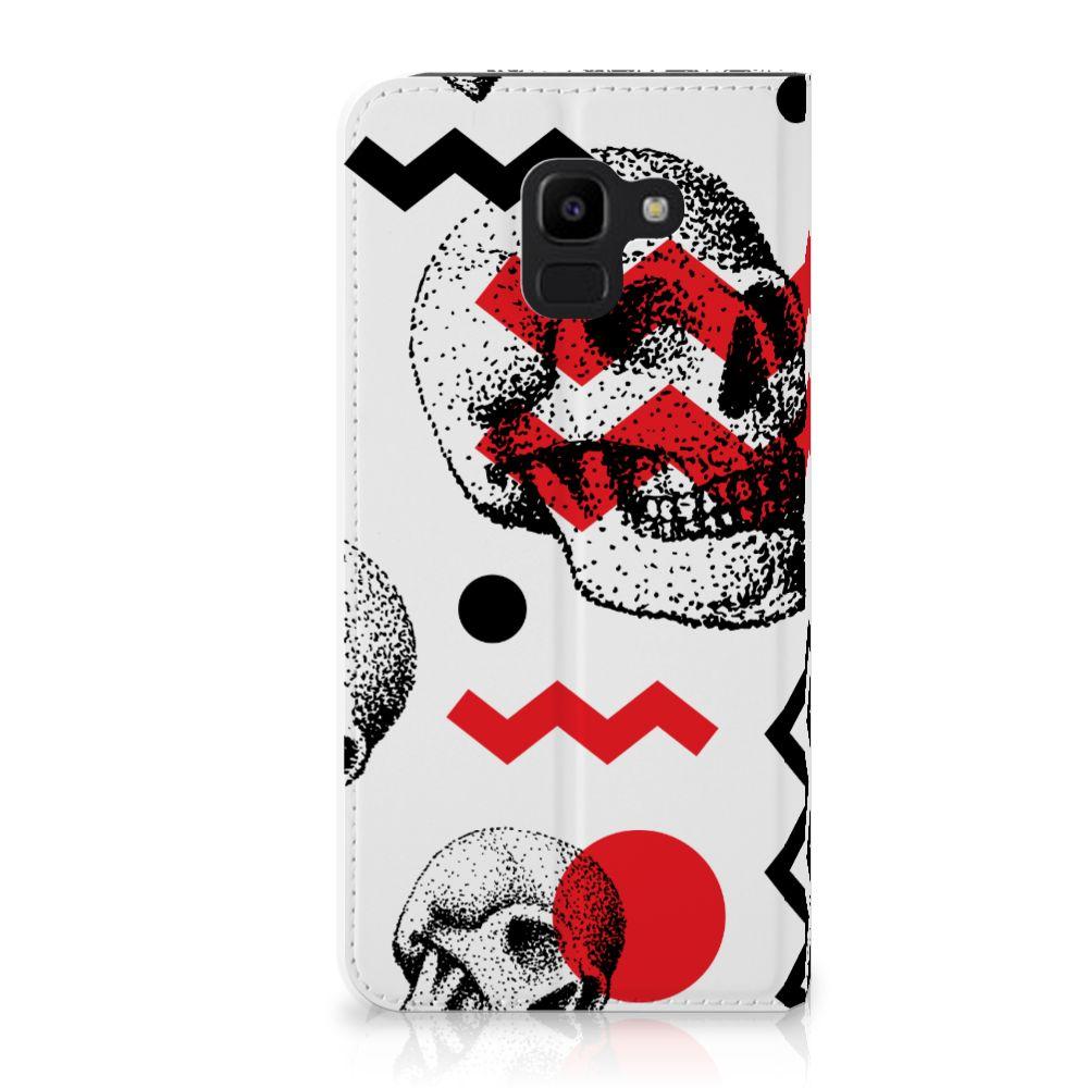 Samsung Galaxy J6 (2018) Standcase Hoesje Design Skull Red