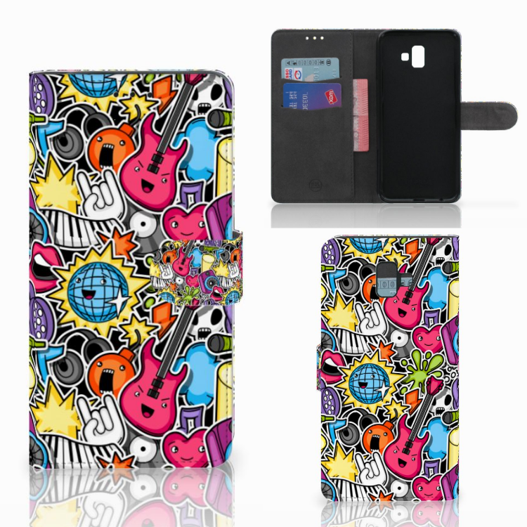 Samsung Galaxy J6 Plus (2018) Wallet Case met Pasjes Punk Rock
