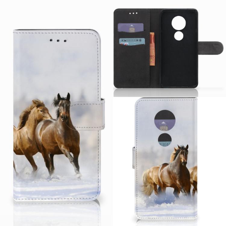 Motorola Moto E5 Play Telefoonhoesje met Pasjes Paarden