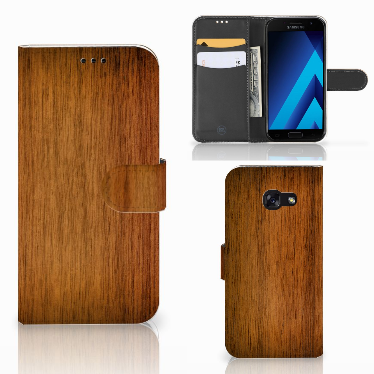 Samsung Galaxy A5 2017 Book Style Case Donker Hout